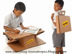 best products out of waste materials for poor school kids...  Innovative ideas: Two in one purpose School bag cum writing desk made out of recycled discarded cartons for poor kids...   #bestoutofwaste #creativeideas #innovativeideas #schoolprojects #waste #recycle #recycleideas
