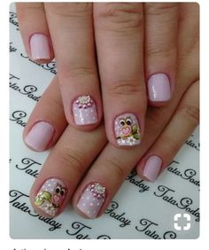 Nails For Kids, Girls Nails, Cute Nails, Pretty Nails, Owl Nails, Cute Nail Designs, Manicure And Pedicure, Nails Inspiration, Glitter Nails