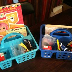 """Kid's travel kit: crayons, coloring book, """"I spy"""" bingo, trash bag, snacks, and roll of quarters. If they whine, fight, etc., they have to give me a quarter. Whatever they have left is theirs to spend."""