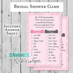 Bridal Shower Game Famous Prince & by DesignbyKristinLynn on Etsy