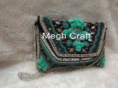 Party Wear Designer Women's Clutch Purse - Indian Handmade Pearl Beaded Wallet For Girls - Pom Pom Clutch Purse - Wedding Wear Clutch Designer Clutch, Designer Wear, Pom Pom Clutch, Wallets For Girls, Wedding Clutch, Handmade Purses, Beaded Clutch, Clutch Wallet, Party Wear