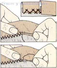 Costura a mano, Punto de escapulario                              … Sewing Stitches, Embroidery Stitches, Embroidery Patterns, Hand Embroidery, Sewing Patterns, Sewing Hacks, Sewing Tutorials, Sewing Crafts, Sewing Projects