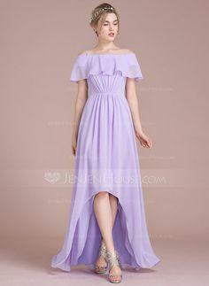 [US$ 102.69] A-Line/Princess Off-the-Shoulder Asymmetrical Chiffon Bridesmaid Dress With Cascading Ruffles (007104702)
