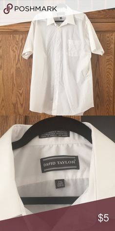 Men's White Button Up Short sleeve button up, never been worn, still has tag david taylor Shirts Short Sleeve Button Up, White Button Up, Taylor White, Chef Jackets, David, Man Shop, Buttons, Button, Knots