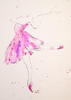 Gouache originale de ballerine aquarelle abstraite 6 x 8