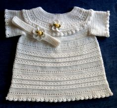 Baby Girl Crochet Dress Pattern Special Occasion! Long or Short 9-12mo  Available at:   http://www.ravelry.com/stores/sugar-toe-babies