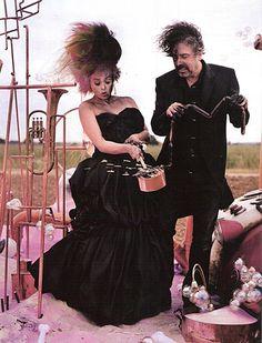Tim Burton & Helena Bonham Carter. British Vogue Roald Dahl Shoot by Tim Walker. December 2008