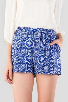 Elling Printed Tie Shorts - blue-cl