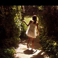 walking barefoot in a garden wearing a white dress --- my ideal Saturday afternoon