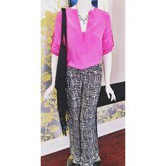 top: BCBG 'Emmalise' Berry Blush top $198.00 // pants: Tolani - Aria Silk Printed Pants $168.00 Necklace $42.00 // BCBGeneration Fringe Tote $128.00 #tolani #blackandwhite #popofcolor #fringebag #kkbloomstyle #spring2014