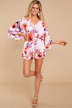 Promise Me Now, dear romper, that you'll keep making me look good and that you'll never stop! I'm head over heels for you, with all your stylishness and chic vibes. I just couldn't keep going without you! Spring Fashion, Women's Fashion, Cute Rompers, New Today, Complete Outfits, Floral Prints, Jumpsuit, Swimsuits, Boutique