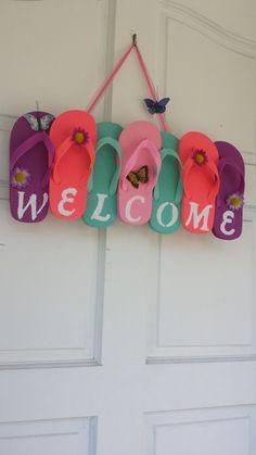 http://www.newtrendclothing.com/category/flip-flops/ Flip Flop Wreath Welcome Wreath Summer Wreath by ADCMDesign