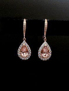 cubic zirconia deco swarovski teardrop vintage rose rhinestone rose gold hook earrings