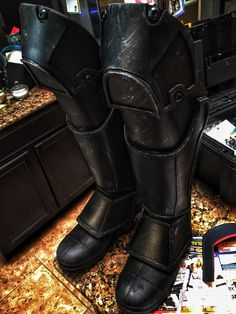 Created my boots from foam and painted a scuffed metal effect to Arkham Origins costume. Batman Arkham Origins homemade costume cosplay DIY eva foam