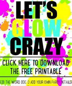 DIY Glow party invitations  - free printable