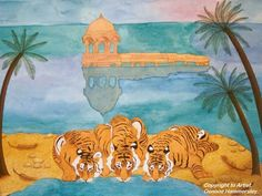 Oenone Hammersley - Tiger cubs drinking. Watercolour and gouache