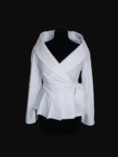 Wrap White shirt cotton blouse/ Custom made Smart by FedRaDD