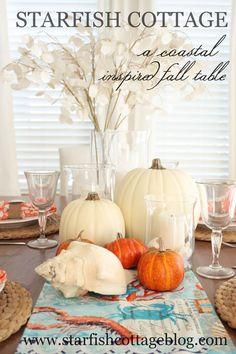 A coastal inspired fall table, today on Starfish Cottage. www.starfishcottageblog.com
