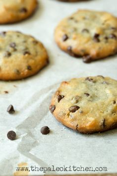 These macadamia nut chocolate chip cookies are a delicious paleo snack from The Paleo Kitchen!