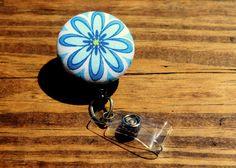 Blue Daisy Badge Reel, Blue Flower Badge Reel, Girly ID Holder, Retractable Badge,Swivel Clip,Nurse Badge Reel, Teacher Badge, Fabric Badge by TheNerdyFatCat on Etsy