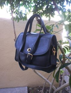Vintage Black Leather Coach Satchel Manor Bag