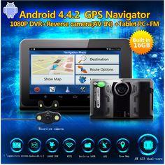 "7"" Car DVR 16GB Full HD 1080P Android 4.22 GPS Navigation Radar detector dvr auto camera G-Sensor with rear view camera"