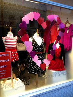 Valentines shop window display. Hearts, glitter, pretty, love, charity, thrifty, red.