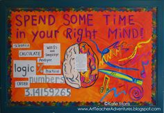 Bullitin for art room LOVE Adventures of an Art Teacher: Right Brain Bulletin Board Classroom Posters, Classroom Displays, Art Classroom, Classroom Ideas, Classroom Organization, Organization Ideas, Chalkboard Classroom, Classroom Helpers, Class Displays