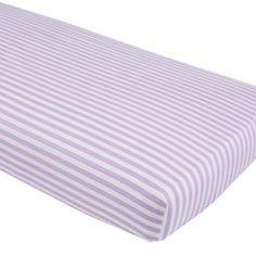 Unicorn Parade Crib Fitted Sheet (Purple Stripe)    The Land of Nod