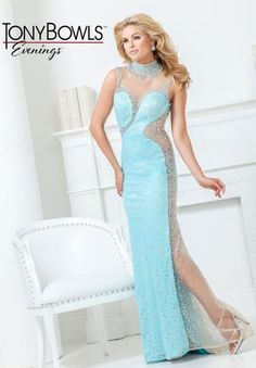 Tony Bowls Evenings High Illusion Beaded Dress TBE11506 #prom2k15 #prom #dress #blue #sequins #evening #elegant #fitted #sexy #black #backless #beaded #strapless #promdressshop