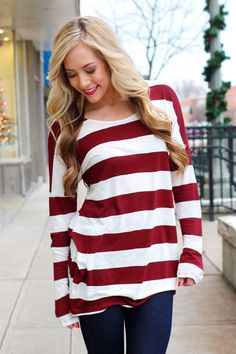 Burgundy Stripe Elbow Patch Top | UOIOnline.com: Women's Clothing Boutique