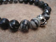 Men's Skull Bracelet with  Hematite Silk by MakeMeSmileJewelry, $25.00