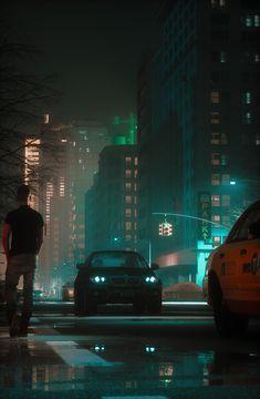 """Night urban moods"" by Ro Bot Software Used: FStorm, 3dsMax, DavinciResolve Best Background Images, Night Background, Landscape Photography, Art Photography, Sunset Wallpaper, City Scene, Art Station, Science Fiction Art, Environmental Art"