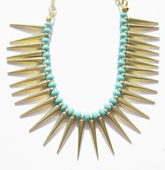gold spike necklace - fringe necklace - gold necklace - statement - necklace - dagger - chunky necklace -