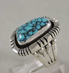 Turquoise Mountain Navajo Silver Modernist Ring by Oldndnshop