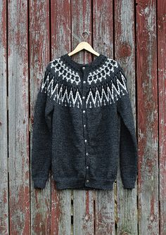 "Nr 7 ""Glitterheim"" herrekofte pattern by Sandnes Design Sweaters For Women, Men Sweater, Ski Season, Knitting, Crochet, Arrow Keys, Close Image, Pattern, Handmade"