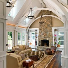 I Love Unique Home Architecture. Simply stunning architecture engineering full of charisma nature love. The works of architecture shows the harmony within. Family Room Design, Interior Design Living Room, Living Room Designs, Family Rooms, Family Den, Kitchen Interior, Style At Home, Home Living Room, Living Spaces