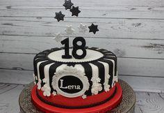 18. birthday in schwarz-weiß-rot mit Sternen