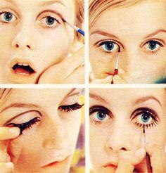 twiggy make up look Mod Makeup, 1960s Makeup, Twiggy Makeup, Retro Makeup, Vintage Makeup, Makeup Inspo, Makeup Inspiration, Makeup Tips, Estilo Twiggy