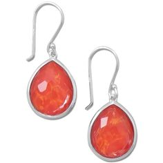 Pre-owned Pear Shape Freeform Faceted Quartz Over Coral Drop Earrings ($149) ❤ liked on Polyvore featuring jewelry, earrings, accessories, coral, clear quartz jewelry, preowned jewelry, clear crystal drop earrings, quartz jewelry and clear jewelry