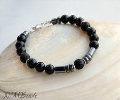 Black Onyx Hematite Lava Rock Beaded Men's Bracelet by NMBeadsJewelry