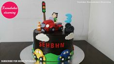 Car theme Chocolate cake decoration design ideas for boy girl kids birthday Simple Birthday Cake Designs, Easy Kids Birthday Cakes, Easy Cakes For Kids, Cartoon Birthday Cake, Cake Designs For Kids, Friends Birthday Cake, Simple Cake Designs, Animal Birthday Cakes, Frozen Birthday Cake