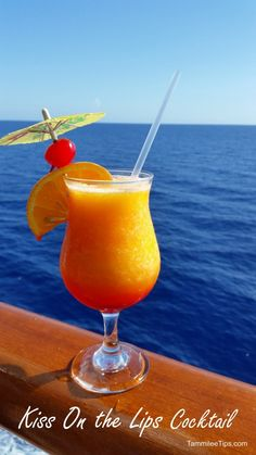 Kiss on the Lips (1 1/2 oz peach schnapps 6 oz frozen mango mix 1 Tbs grenadine syrup)