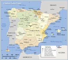 Administrative Map of Spain with short descriptions of Spain's 17 autonomous communities, also showing the location of provinces and administrative capitals.