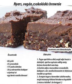 Nyers,vegán, csokoládés brownie Fitt, Brownies, Treats, Cakes, Vegan, Sweet, Cake Brownies, Sweet Like Candy, Candy