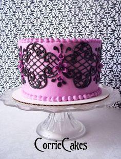 Purple Black Lace Cake