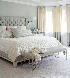 Grey and white bedroom- love the curtains and headboard
