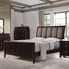 6de0d7281725 Madison Transitional Dark Merlot Wood Fabric Upholstered Queen Bed Sleigh Bedroom  Set, Master Bedroom Set