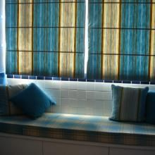 Mediterranean Style Blue Striped Linen and Cotton Curtains  -USD $44.99