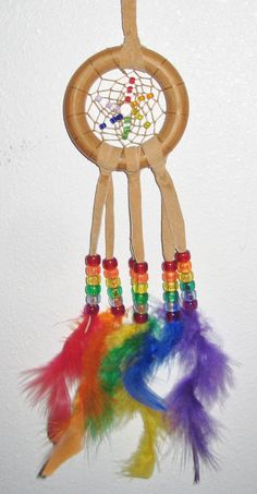 Rainbow Dream Catcher  2.75 inch by moonshadowgift on Etsy, $12.27